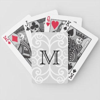 Your Letter. Black / White Swirl Monogram. Custom Poker Deck