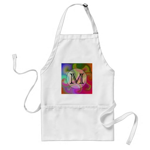 Your Letter, Colorful Swirls and Custom Monogram. Aprons