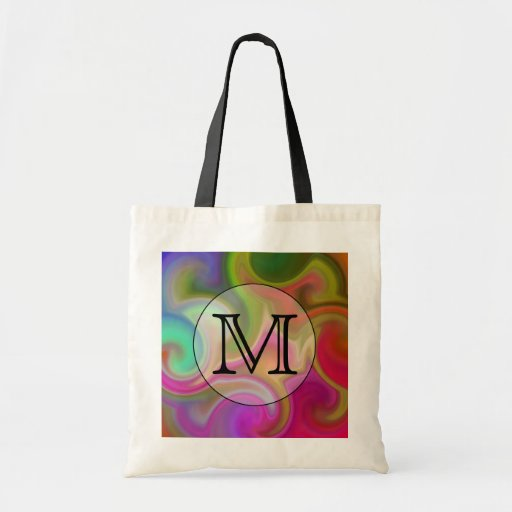 Your Letter, Colorful Swirls and Custom Monogram. Bags