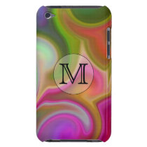 Your Letter, Colorful Swirls and Custom Monogram. Barely There iPod Cover