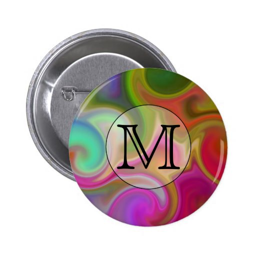 Your Letter, Colorful Swirls and Custom Monogram. Pinback Buttons