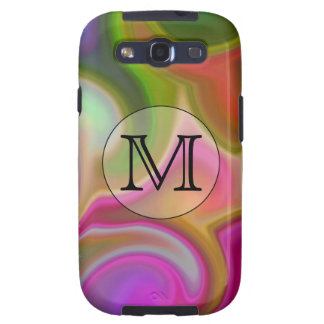 Your Letter, Colorful Swirls and Custom Monogram. Samsung Galaxy SIII Case