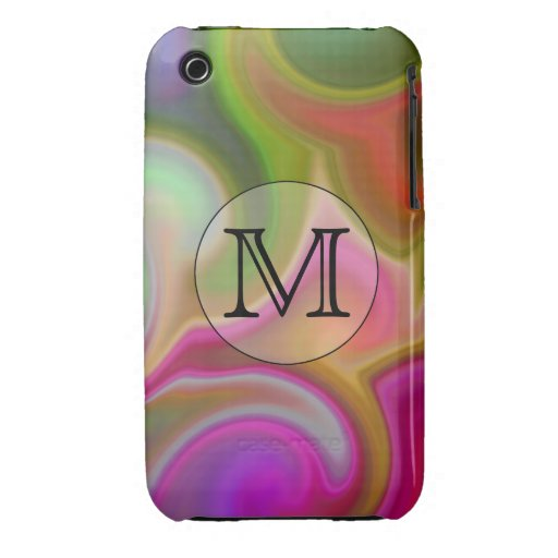 Your Letter, Colorful Swirls and Custom Monogram. iPhone 3 Cover