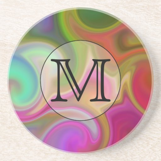 Your Letter, Colorful Swirls and Custom Monogram. Beverage Coasters