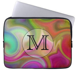 Your Letter, Colorful Swirls and Custom Monogram. Computer Sleeves