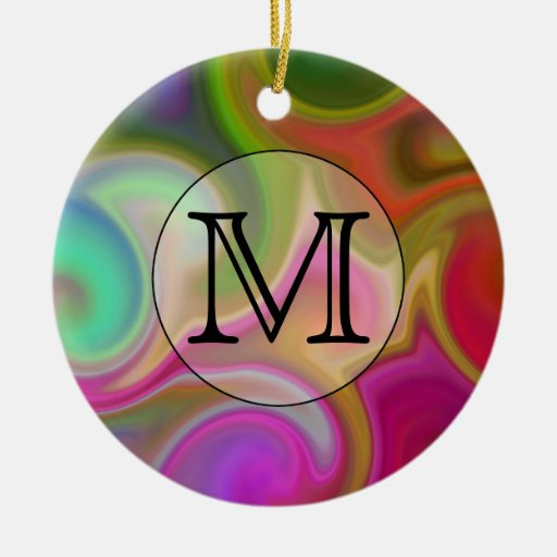 Your Letter, Colorful Swirls and Custom Monogram. Double-Sided Ceramic Round Christmas Ornament
