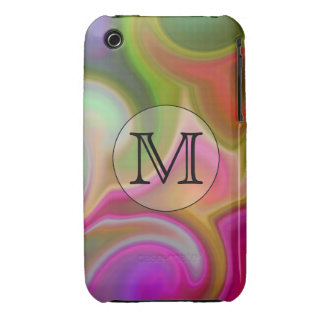 Your Letter, Colorful Swirls and Custom Monogram. iPhone 3 Case
