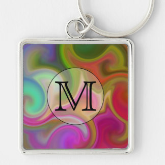 Your Letter, Colorful Swirls and Custom Monogram. Key Chain