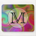 Your Letter, Colorful Swirls and Custom Monogram. Mouse Pad