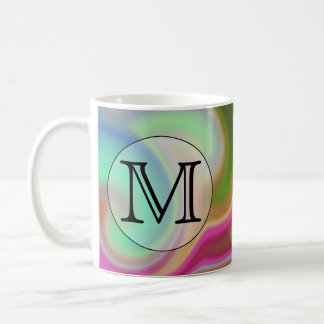 Your Letter, Colorful Swirls and Custom Monogram. Classic White Coffee Mug