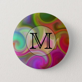 Your Letter, Colorful Swirls and Custom Monogram. Pinback Button