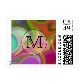 Your Letter, Colorful Swirls and Custom Monogram. Postage