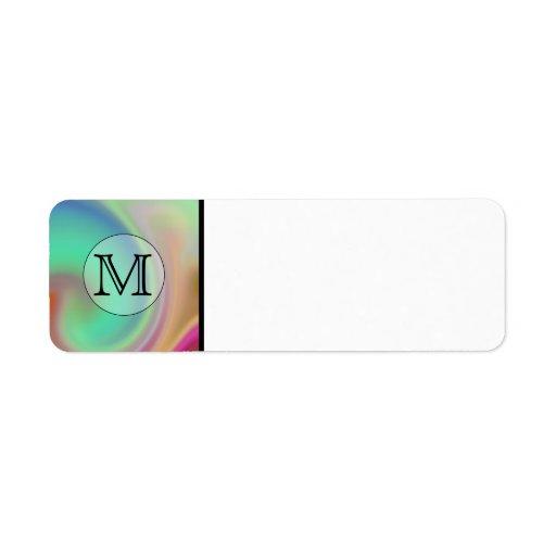 Your Letter, Colorful Swirls and Custom Monogram. Return Address Label