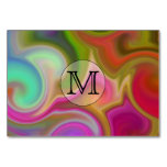 Your Letter, Colorful Swirls and Custom Monogram. Table Card