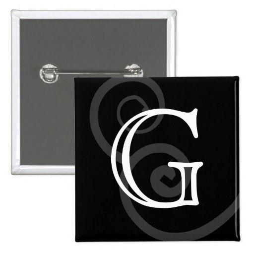 Your Letter. Custom Black / White Swirl Monogram. 2 Inch Square Button