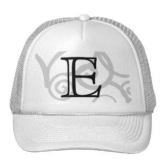 Your Letter. Custom Black / White Swirl Monogram. Trucker Hats