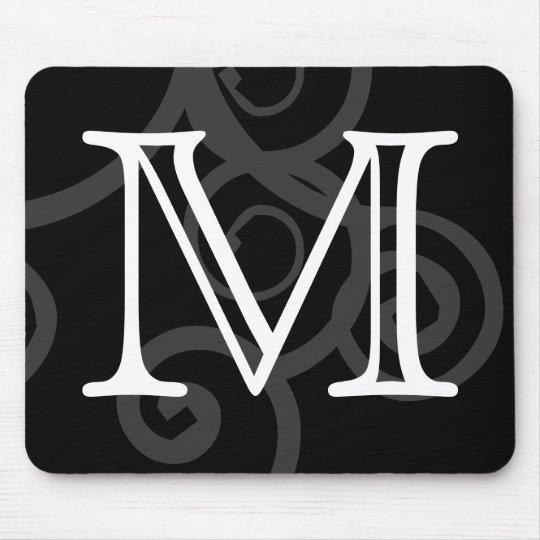 Your Letter. Custom Black / White Swirl Monogram. Mouse Pad