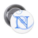 Your Letter. Custom Blue Swirl Monogram. Pinback Buttons