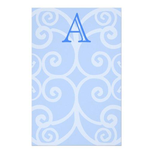 Your Letter. Custom Blue Swirl Monogram. Stationery