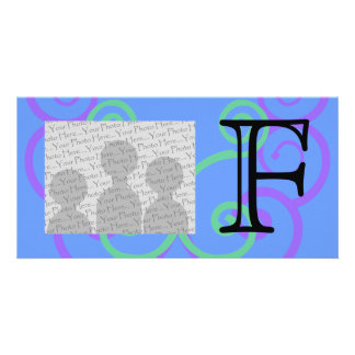 Your Letter Custom Bright Colors Swirl Monogram Picture Card