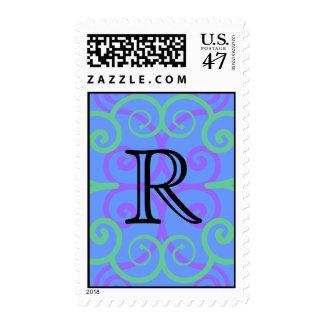 Your Letter. Custom. Bright Colors Swirl Monogram. Postage