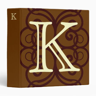 Your Letter. Custom Brown Monogram. Old Fashioned. 3 Ring Binder