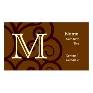 Your Letter. Custom Brown Monogram. Old Fashioned. Business Card