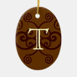 Your Letter. Custom Brown Monogram. Old Fashioned. Christmas Ornaments
