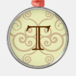 Your Letter. Custom Brown Monogram. Old Fashioned. Christmas Ornament