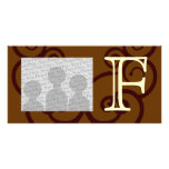 Your Letter. Custom Brown Monogram. Old Fashioned. Picture Card