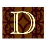 Your Letter. Custom Brown Monogram. Old Fashioned. Postcard