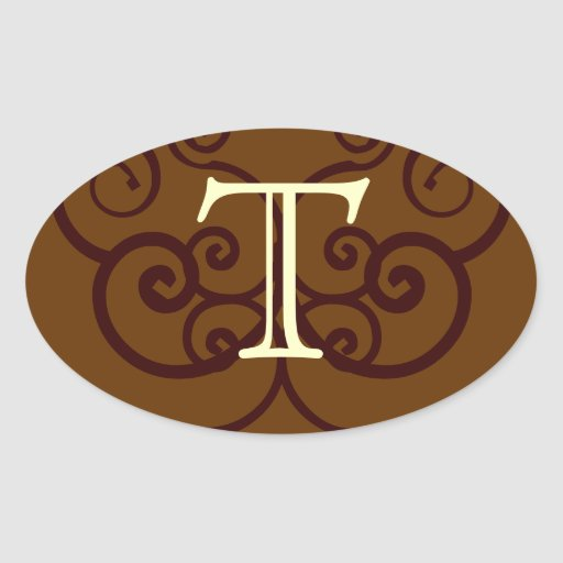 Your Letter. Custom Brown Monogram. Old Fashioned. Oval Sticker