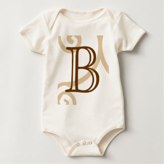 Your Letter. Custom Brown Monogram. Old Fashioned. Rompers