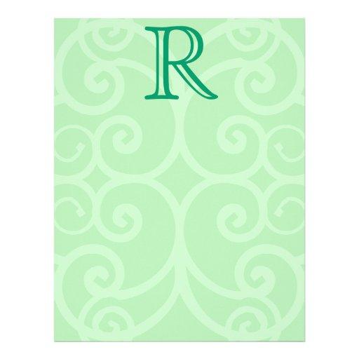 Your Letter. Custom Green Swirl Monogram. Letterhead Template