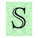 Your Letter. Custom Green Swirl Monogram. Postcard