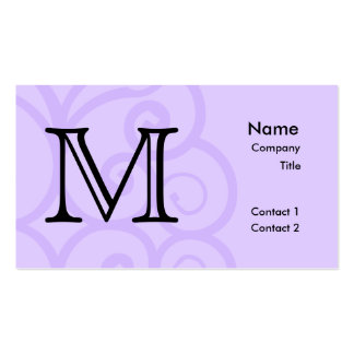 Your Letter. Custom. Lilac Purple Swirl Monogram. Business Card