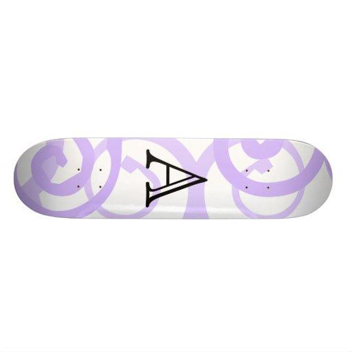 Your Letter. Custom. Lilac Purple Swirl Monogram. Skateboard Decks
