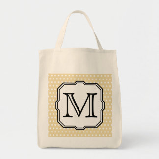 Your Letter. Custom Monogram. Beige Polka Dot. Canvas Bag