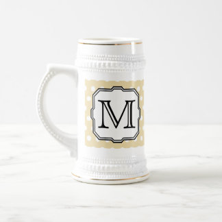 Your Letter. Custom Monogram. Beige Polka Dot. Beer Stein