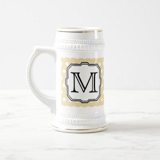 Your Letter. Custom Monogram. Beige Polka Dot. Beer Stein