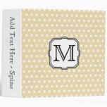 Your Letter. Custom Monogram. Beige Polka Dot. Vinyl Binder