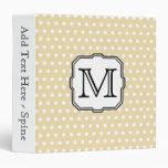 Your Letter. Custom Monogram. Beige Polka Dot. 3 Ring Binder