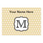 Your Letter. Custom Monogram. Beige Polka Dot. Business Card