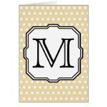 Your Letter. Custom Monogram. Beige Polka Dot. Greeting Card