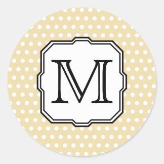 Your Letter. Custom Monogram. Beige Polka Dot. Classic Round Sticker