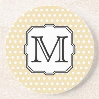 Your Letter. Custom Monogram. Beige Polka Dot. Drink Coaster