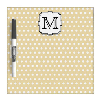Your Letter. Custom Monogram. Beige Polka Dot. Dry-Erase Board