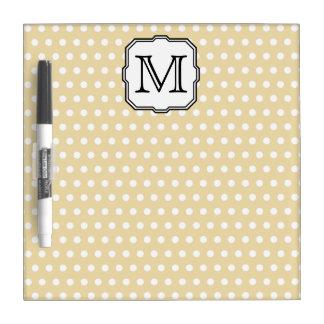 Your Letter. Custom Monogram. Beige Polka Dot. Dry-Erase Board