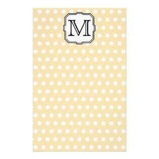 Your Letter. Custom Monogram. Beige Polka Dot. Flyer