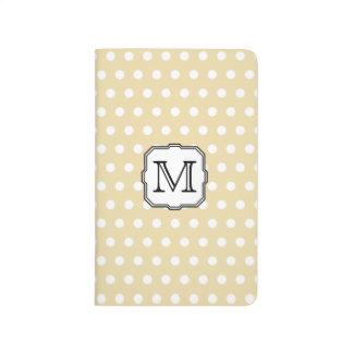 Your Letter. Custom Monogram. Beige Polka Dot. Journal